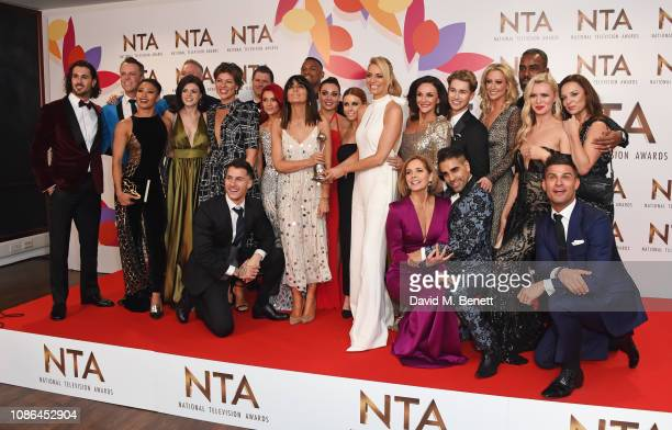 Cast and crew of Strictly Come Dancing winners of the Best Talent Show award celebrate in the Winners Room during the National Television Awards held...