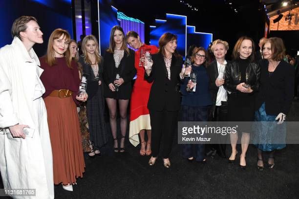 Cast and crew of 'Suspiria' winners of the Robert Altman Award for Best Ensemble during the 2019 Film Independent Spirit Awards on February 23 2019...