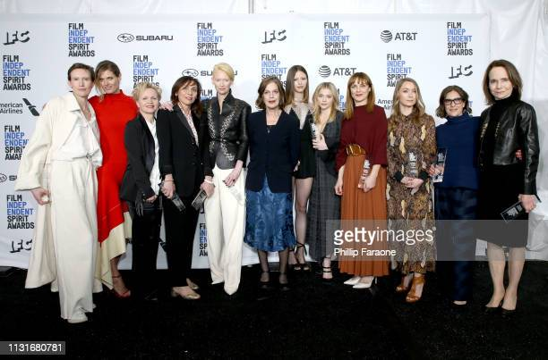 """Cast and crew of """"Suspiria"""", winners of the Robert Altman Award, pose in the press room during the 2019 Film Independent Spirit Awards on February..."""