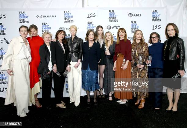 "Cast and crew of ""Suspiria"" winners of the Robert Altman Award pose in the press room during the 2019 Film Independent Spirit Awards on February 23..."