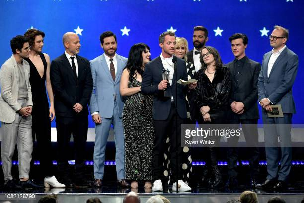 Cast and crew of 'The Assassination of Gianni Versace American Crime Story' accept the Best Limited Series award onstage during the 24th annual...