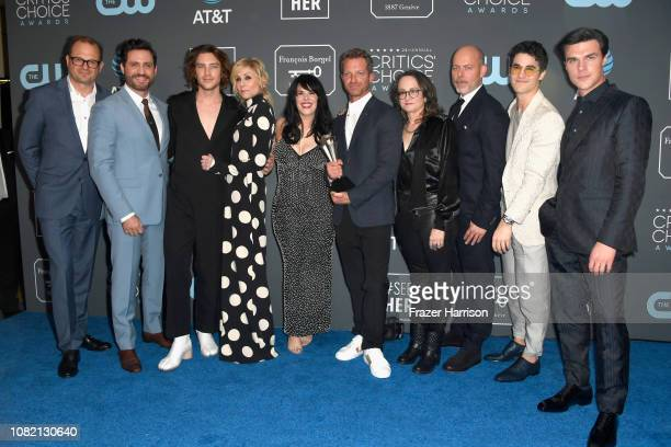 Cast and crew of 'The Assassination of Gianni Versace American Crime Story' winners of Best Limited Series pose in the press room during the 24th...