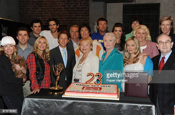 CBS' Cast and Crew of the CBS show Bold And The Beautiful pose together at the shows 23rd Anniversary Celebration at Television City CBS Studio Lot...