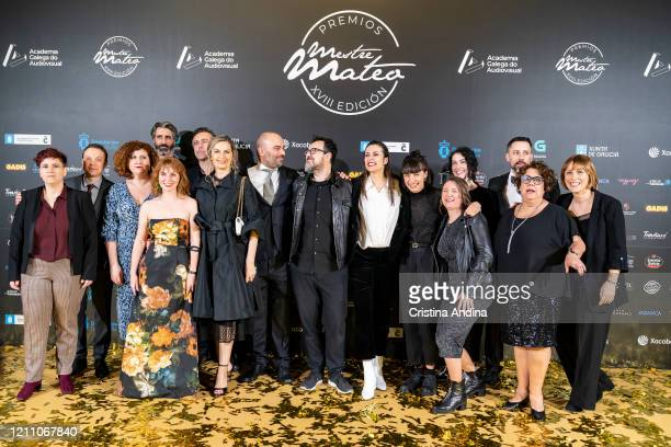 Cast and crew of the film Quien a Hierro Mata with María Vázquez Emma Lustres and Paco Plaza during the Mestre Mateo Awards in A Coruna on March 07...