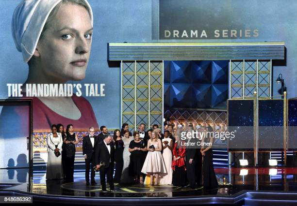 Cast and crew of 'The Handmaid's Tale' accept the Outstanding Drama Series award onstage during the 69th Annual Primetime Emmy Awards at Microsoft...
