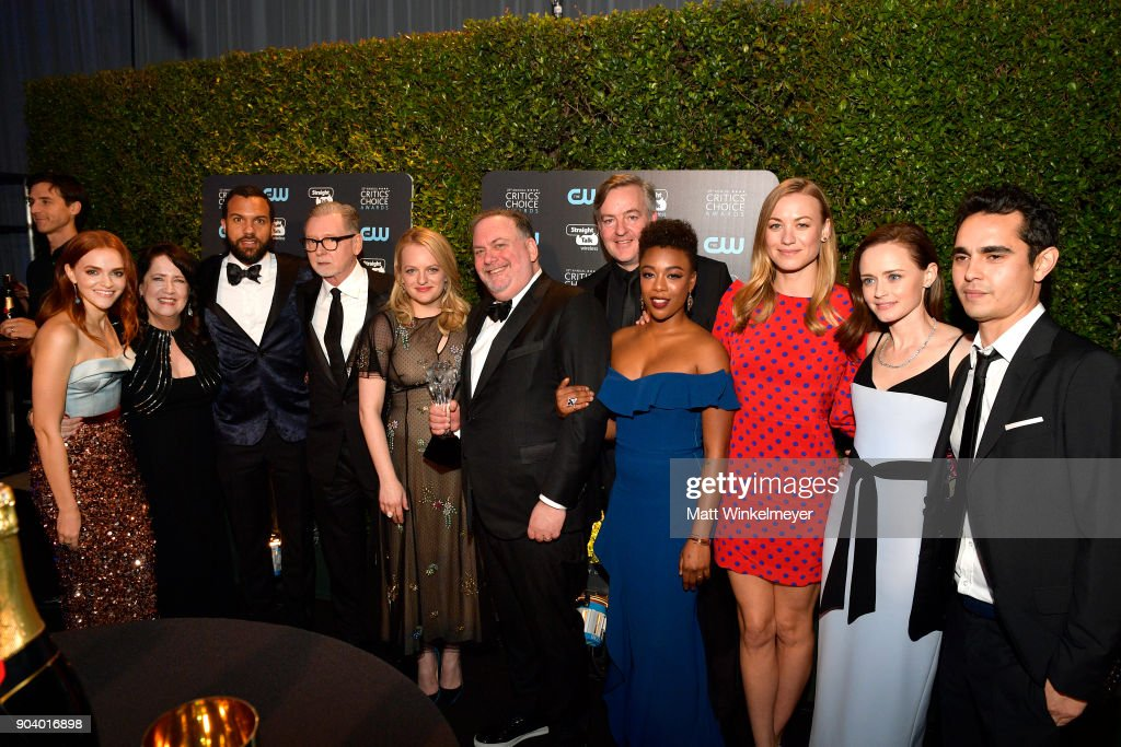 Cast and crew of 'The Handmaid's Tale', winners of Best Drama Series, attend The 23rd Annual Critics' Choice Awards at Barker Hangar on January 11, 2018 in Santa Monica, California.