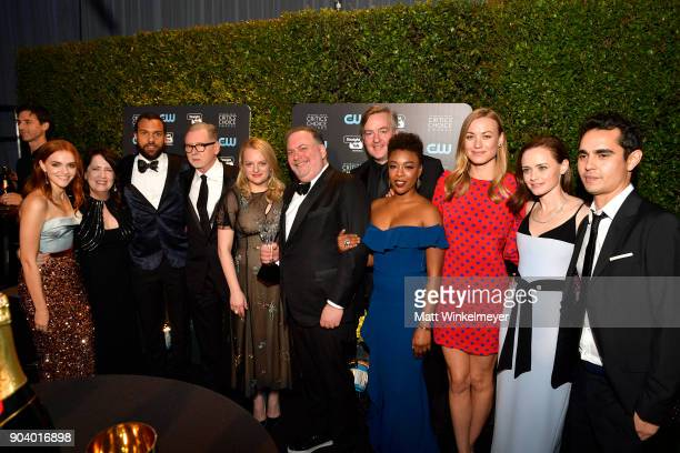 Cast and crew of 'The Handmaid's Tale' winners of Best Drama Series attend The 23rd Annual Critics' Choice Awards at Barker Hangar on January 11 2018...