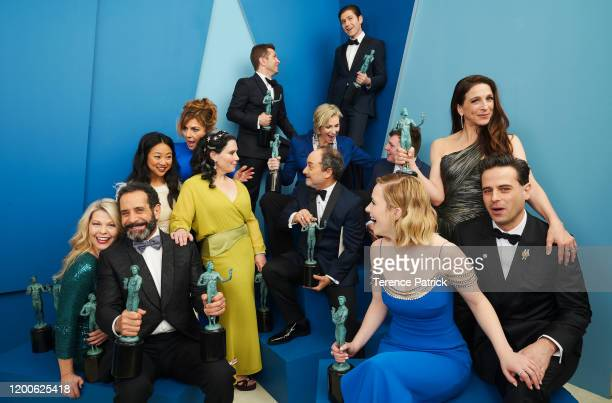 Cast and crew of 'The Marvelous Mrs Maisel' winners of the Outstanding Performance by an Ensemble in a Comedy Series award pose in the Winners'...