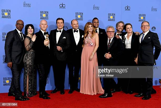 Cast and crew of 'The People v OJ Simpson American Crime Story' winner of Best Miniseries or Television Film pose in the press room during the 74th...