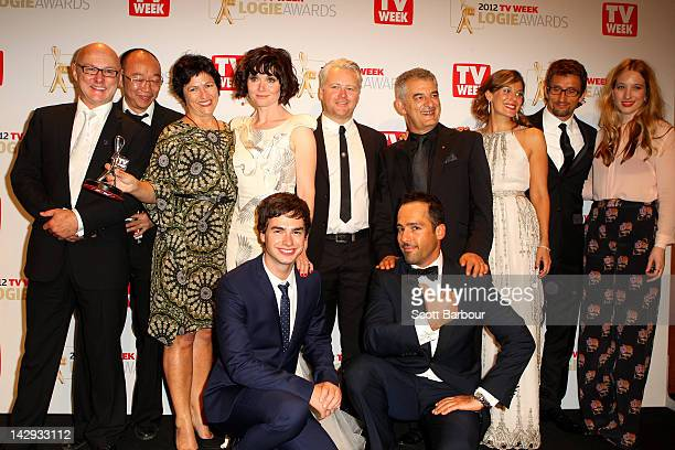 Cast and crew of 'The Slap' pose after winning the logie for Most Outstanding Drama Series or MiniSeries at the 2012 Logie Awards at the Crown...
