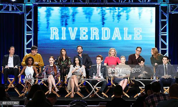 Cast and Crew of the television show Riverdale onstage during the 2017 Winter TCA Tour Panels CW held at The Langham Huntington Hotel and Spa on...