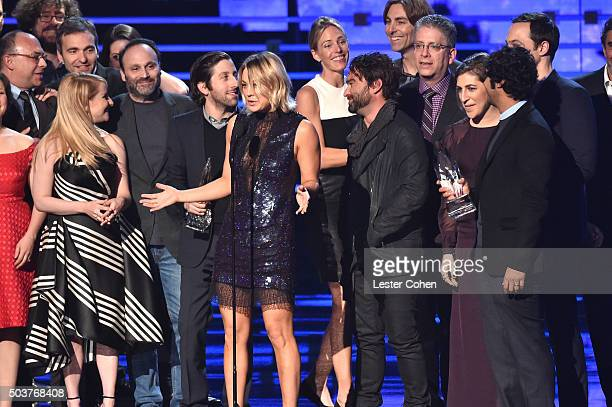 Cast and crew of the 'The Big Bang Theory' accept the Favorite TV Show award onstage during the People's Choice Awards 2016 at Microsoft Theater on...