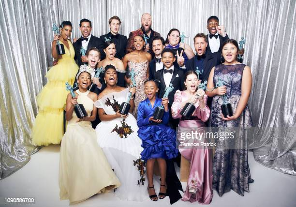 Cast and crew of 'This Is Us' winners of the Outstanding Performance by an Ensemble in a Drama Series for 'This Is Us' pose in the Winner's Gallery...