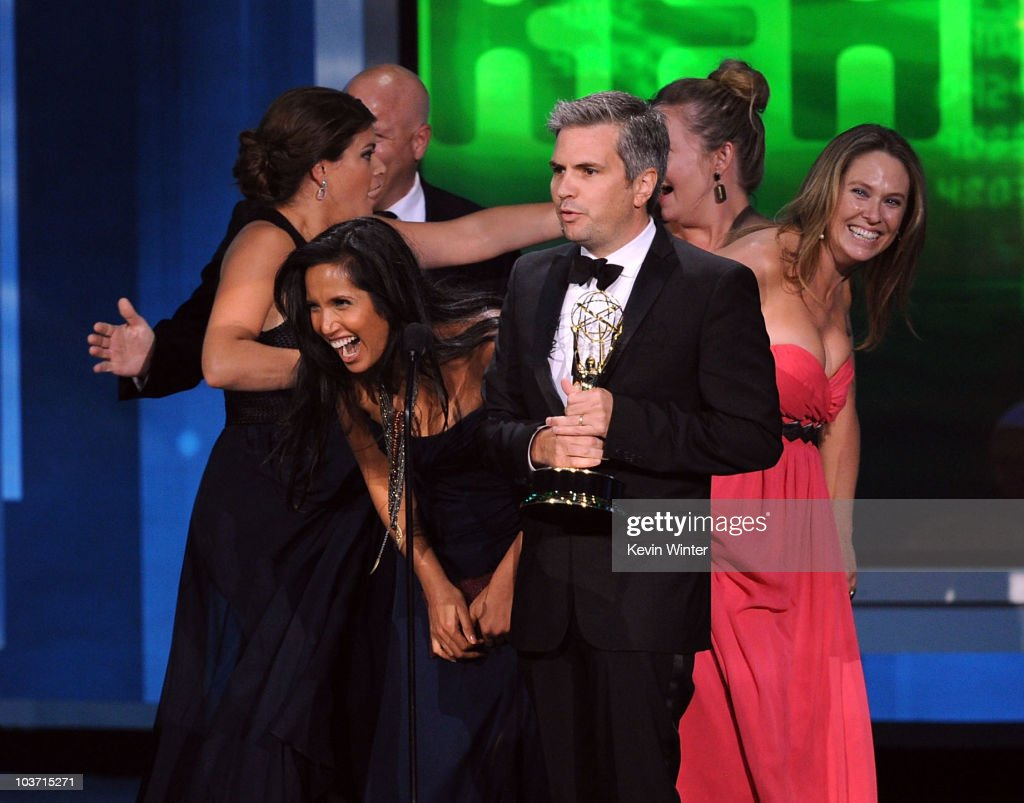 Cast and crew of 'Top Chef' accept the Outstanding Reality Competition Program award onstage at the 62nd Annual Primetime Emmy Awards held at the Nokia Theatre L.A. Live on August 29, 2010 in Los Angeles, California.