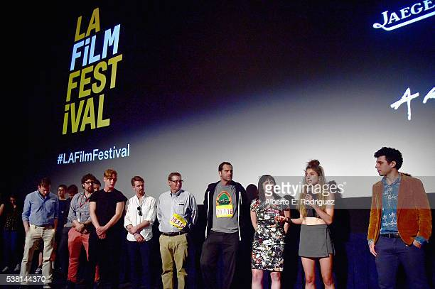 Cast and crew of Tracktown speak onstage at the premiere of 'Tracktown' during the 2016 Los Angeles Film Festival at Arclight Cinemas Culver City on...