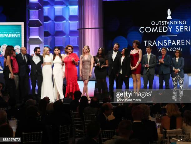 Cast and crew of 'Transparent' accepts the Oustanding Comedy Series award onstage during the 28th Annual GLAAD Media Awards in LA at The Beverly...