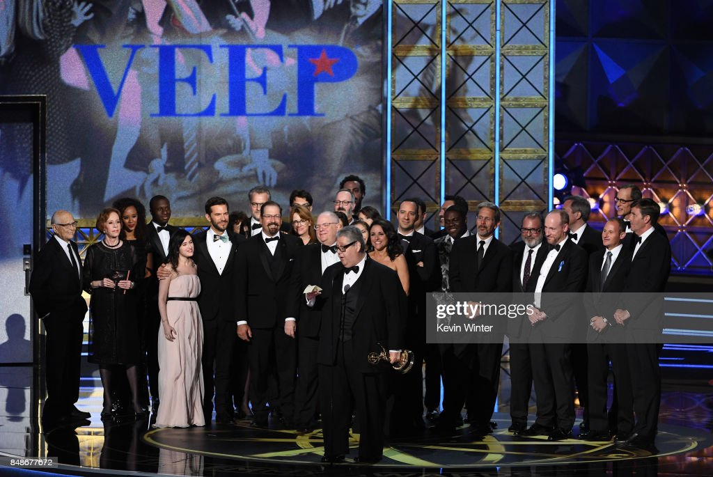 Cast and crew of 'Veep' accept the Outstanding Comedy Series award onstage during the 69th Annual Primetime Emmy Awards at Microsoft Theater on September 17, 2017 in Los Angeles, California.