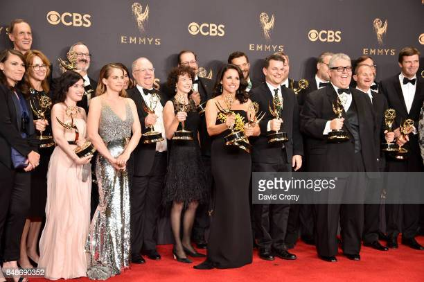 Cast and crew of 'Veep' winner of the Outstanding Comedy Series award pose in the press room during the 69th Annual Primetime Emmy Awards at...