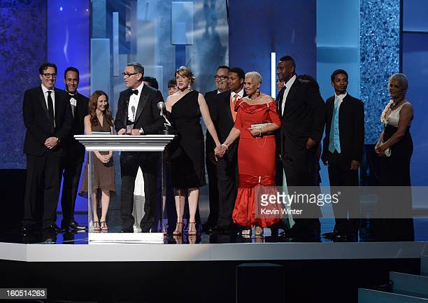 Cast and crew of 'Welcome to Sweetie Pie's' winner Outstanding Reality Series speaks onstage during the 44th NAACP Image Awards at The Shrine...