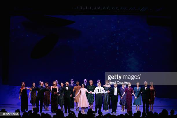 Cast and crew onstage at An American In Paris Broadway opening night at Palace Theatre on April 12 2015 in New York City