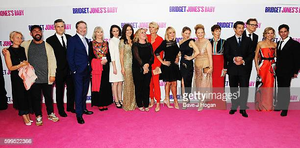 Cast and crew pose for a photo during the world premiere of 'Bridget Jones's Baby' at Odeon Leicester Square on September 5 2016 in London England