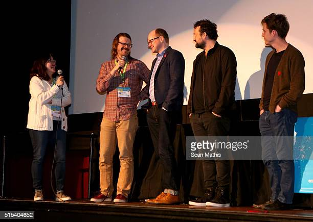 """Cast and crew speak onstage at the premiere of """"Another Evil"""" during the 2016 SXSW Music, Film + Interactive Festival at Alamo Ritz on March 12, 2016..."""