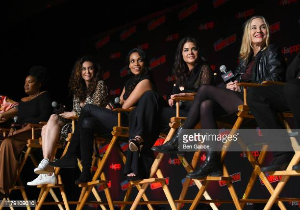 Cast and Crew speak onstage at the Wonder Woman Bloodlines during New York Comic Con 2019 Day 2 at Jacobs Javits Center on October 04 2019 in New...