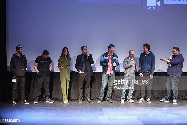 Cast and crew speak onstage at the You're Next QA during the 2013 SXSW Music Film Interactive Festival at Topfer Theatre at ZACH on March 10 2013 in...