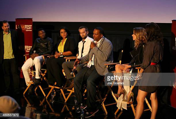 Cast and crew speak onstage during the Supremacy premiere during the 2014 Los Angeles Film Festival at Regal Cinemas LA Live on June 12 2014 in Los...