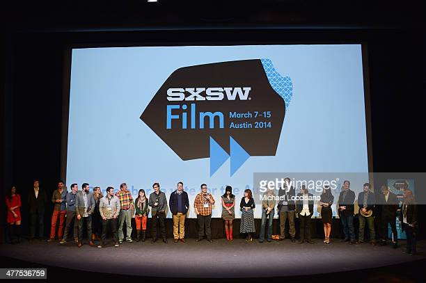 Cast and crew take part in a QA following the Two Step premiere during the 2014 SXSW Music Film Interactive Festival at the Topfer Theatre at ZACH on...