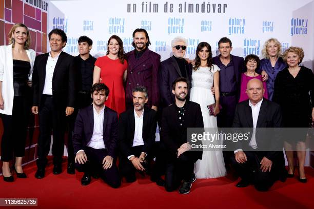 Cast and of 'Dolor y Gloria' attends 'Dolor y Gloria' premiere at the Capitol cinema on March 13 2019 in Madrid Spain