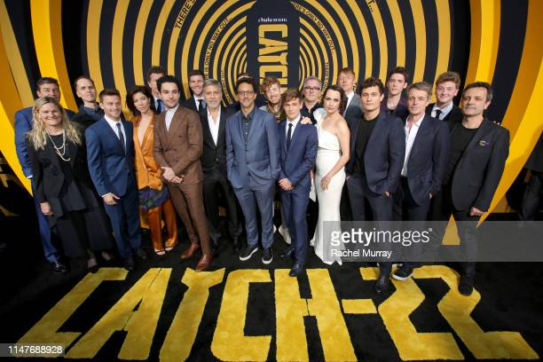 """Cast and producers of """"Catch-22"""" attend the premiere of Hulu's """"Catch-22"""" on May 07, 2019 in Hollywood, California."""
