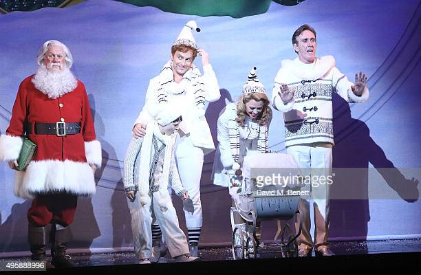 """Cast bows at the curtain call during the press night performance of """"Elf: The Musical"""" at the Dominion Theatre on November 5, 2015 in London, England."""