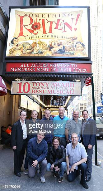 Cast Creative team celebrate 10 Tony Award Nominations for 'Something Rotten' outside the St James Theatre on April 28 2015 in New York City