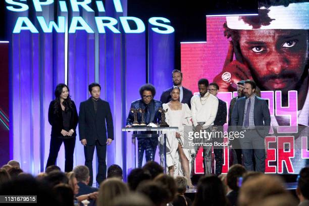 """Cast crew and producers of """"Sorry to Bother You"""" accept Best First Feature onstage during the 2019 Film Independent Spirit Awards on February 23 2019..."""