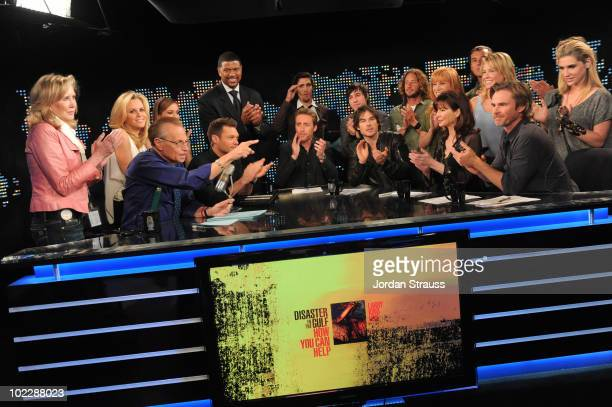 Cast, crew and volunteers pose during Larry King Live: Disaster in the Gulf Telethon held at CNN LA on June 21, 2010 in Los Angeles, California....