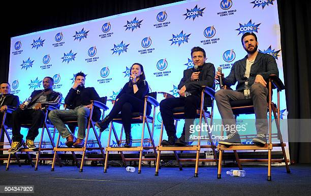 Cast crew of 'Captain America Civil War' Anthony Mackie Frank Grillo Hayley Atwell Jeremy Renner and Chris Evans on day 2 of Wizard World Comic Con...