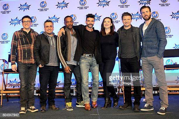 Cast crew of 'Captain America Civil War' Anthony Russo Joe Russo Anthony Mackie Frank Grillo Hayley Atwell Jeremy Renner and Chris Evans on day 2 of...