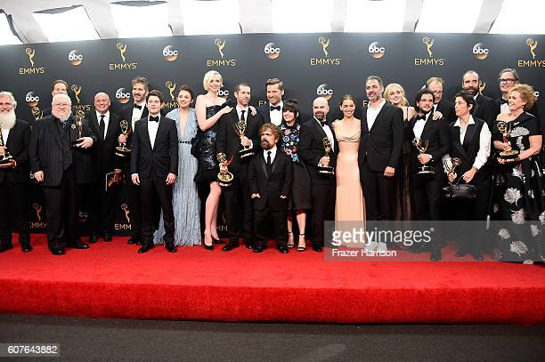 Cast crew of 'Game of Thrones' winners of Best Drama Series pose in the press room during the 68th Annual Primetime Emmy Awards at Microsoft Theater...