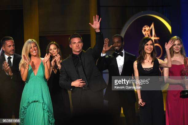 Cast Crew of General Hospital pay tribute to 55th Anniversary onstage during the 45th annual Daytime Emmy Awards at Pasadena Civic Auditorium on...