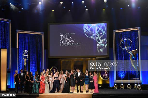 Cast crew of 'The Dr Oz Show' winners of Outstanding Talk Show Informative accept award onstage during the 45th annual Daytime Emmy Awards at...