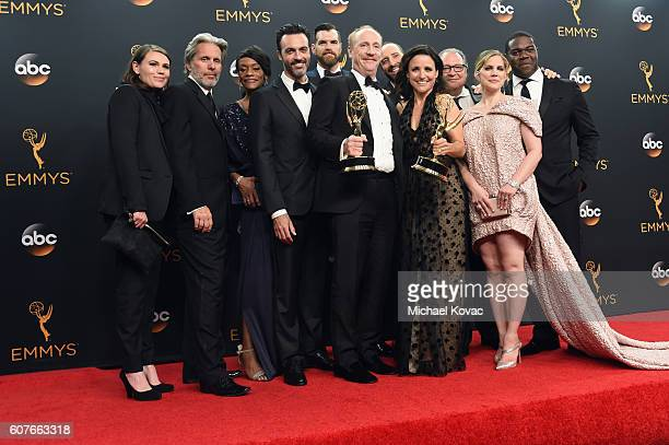 Cast & Crew of 'Veep', winner of Outstanding Comedy Series, pose in the press room at the68th Annual Primetime Emmy Awards at Microsoft Theater on...