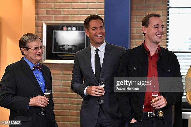 NCIS cast David McCallum Michael Weatherly Sean Murray celebrate 'NCIS' being named he mostwatched drama in the World after receiving the...
