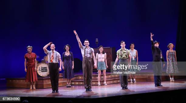 Cast during the Broadway opening night curtain call bows of 'Bandstand' at the Bernard B Jacobs Theatre on 4/26/2017 in New York City