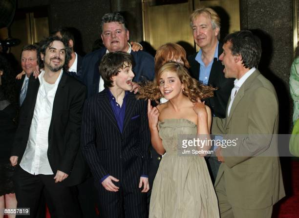 Cast from 'Harry Potter and the Prisoner of Azkaban'{clockwise} Alfonso Cuaron Robbie Coltrane Rupert Grint Alan Rickman Chris Columbus Producer Emma...