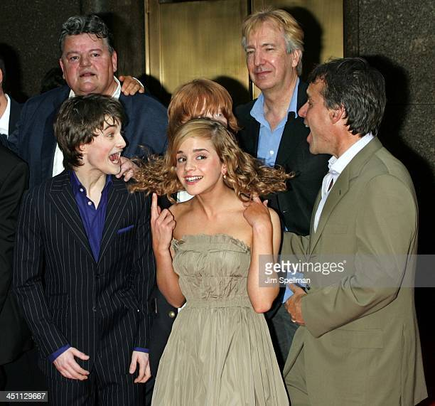 cast from Harry Potter and the Prisoner of Azkaban{clockwise} Robbie Coltrane Rupert Grint Alan Rickman Chris Columbus Producer Emma Watson and...