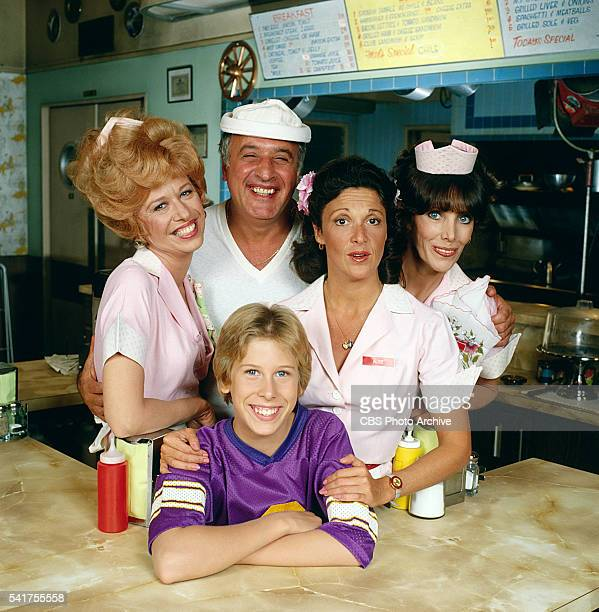 ALICE cast from left to right Polly Holliday as Flo Florence Jean Castleberry Vic Tayback as diner owner Mel Sharples Philip McKeon as Alice's son...