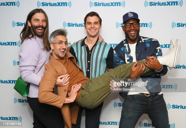 Cast from Netflix series Queer Eye Jonathan Van Ness Tan France Antoni Porowski and Karamo Brown visit the SiriusXM Studios on March 20 2019 in New...
