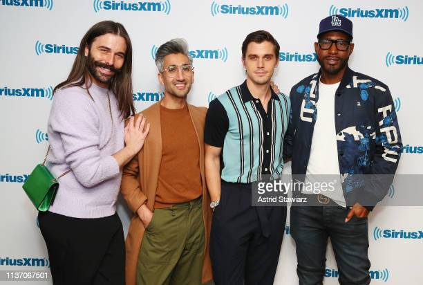Cast from Netflix series 'Queer Eye' Jonathan Van Ness Tan France Antoni Porowski and Karamo Brown visit the SiriusXM Studios on March 20 2019 in New...