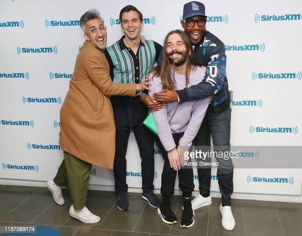 Cast from Netflix series 'Queer Eye' Tan France Antoni Porowski Jonathan Van Ness and Karamo Brown visit the SiriusXM Studios on March 20 2019 in New...